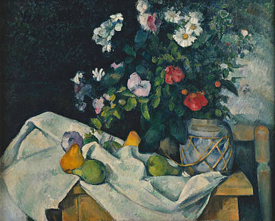 Pear Painting - Still Life With Flowers And Fruit by Paul Cezanne