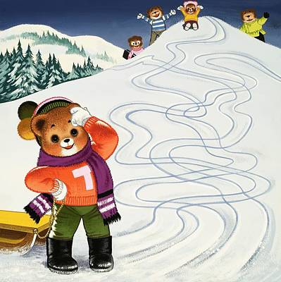Mountain Drawing - Teddy Bear Christmas Card by William Francis Phillipps