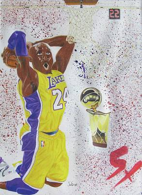 La Lakers Drawing - 5 Time by Jahi Sun