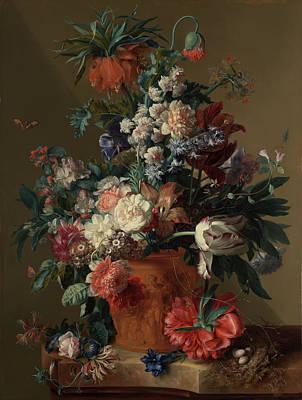 Vase Of Flowers Print by Jan van Huysum