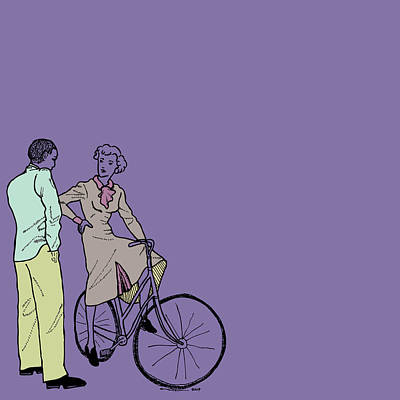 Bike Drawing - Vintage Bike Couple by Karl Addison