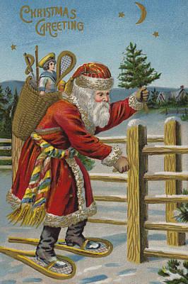 Christmas Tree Drawing - Vintage Christmas Card by English School