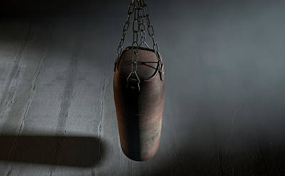 Punch Digital Art - Vintage Leather Punching Bag by Allan Swart
