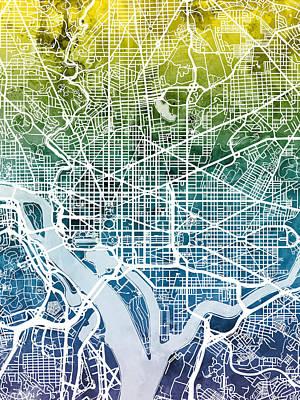 Washington Dc Street Map Print by Michael Tompsett