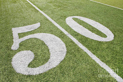 Turf Photograph - 50 Yard Line On Football Field by Bryan Mullennix