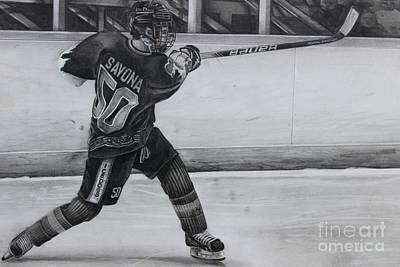 Youth Hockey Drawing - #50bsavona by Gary Reising