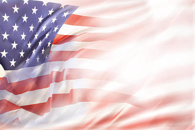 Abstract Movement Photograph - Usa Flag by Les Cunliffe