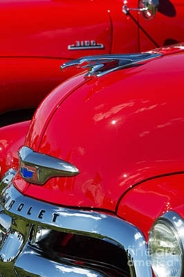 Red Abstract Photograph - 54 Chevrolet Hood by Tim Gainey