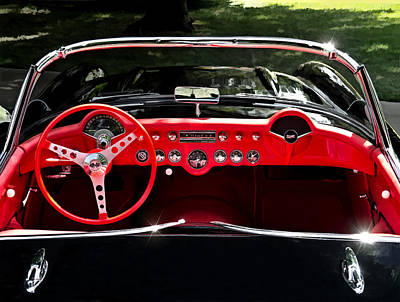 Auto Digital Art - 56 Corvette Convertible by Douglas Pittman