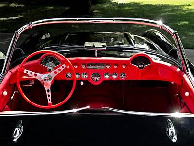 Black Digital Art - 56 Corvette Convertible by Douglas Pittman