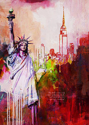 Statue Of Liberty Painting - 56 Ny Skyline by Maryam Mughal