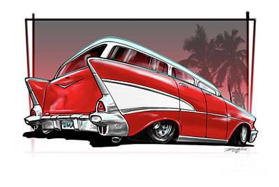 1957 Chevrolet Wagon Drawing - 57 Chev Wagon by Dave McEwan