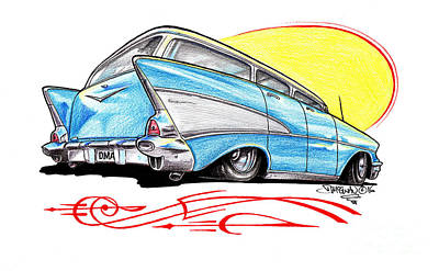 1957 Chevrolet Wagon Drawing - 57 Chevy Wagon Pencil by Dave McEwan