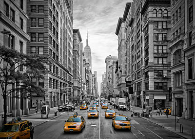 Street Photograph - 5th Avenue Yellow Cabs - Nyc by Melanie Viola