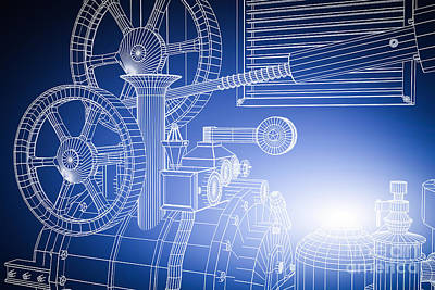 Machinery Photograph - Abstract Industrial And Technology Background by Michal Bednarek