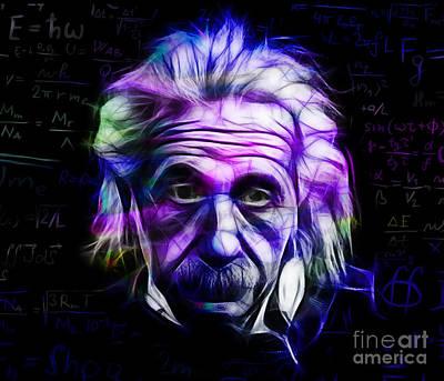 Portrait Mixed Media - Albert Einstein Collection by Marvin Blaine