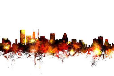 Baltimore Maryland Skyline Print by Michael Tompsett