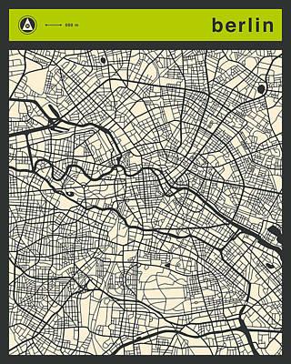 Berlin Digital Art - Berlin Street Map by Jazzberry Blue