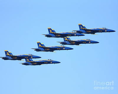 6 Blue Angels Jetting Through The Sky Print by Wingsdomain Art and Photography
