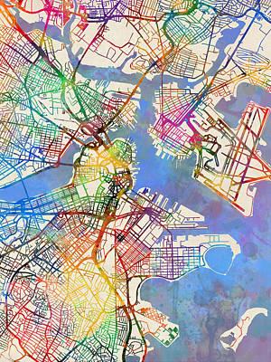 Street Map Digital Art - Boston Massachusetts Street Map by Michael Tompsett