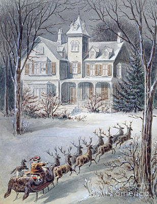 Christmas Eve Painting - Christmas Card by American School