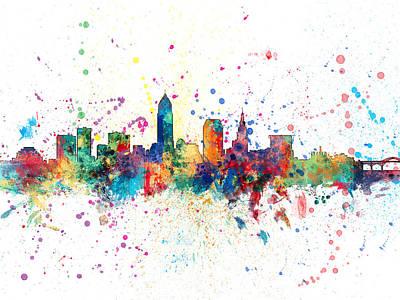 Cityscape Digital Art - Cleveland Ohio Skyline by Michael Tompsett