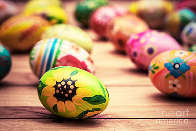 Decorate Photograph - Colorful Hand Painted Easter Eggs On Wood by Michal Bednarek
