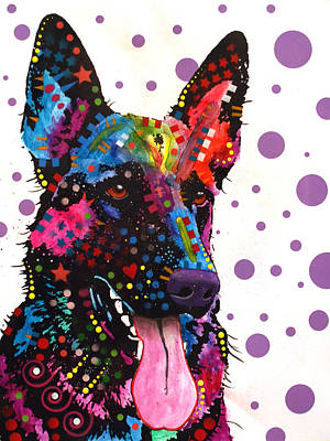 Abstract Art Painting - German Shepherd by Dean Russo
