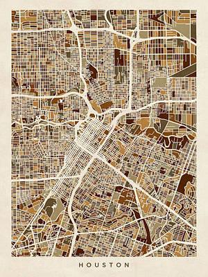 Texas Poster Digital Art - Houston Texas City Street Map by Michael Tompsett