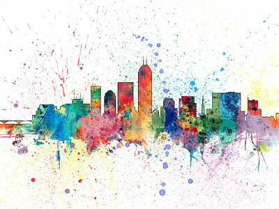 Indianapolis Indiana Skyline Print by Michael Tompsett