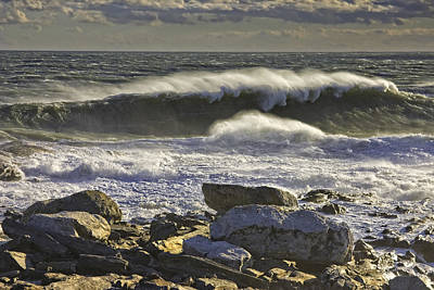 Large Waves Near Pemaquid Point On The Coast Of Maine Print by Keith Webber Jr