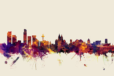Liverpool England Skyline Print by Michael Tompsett