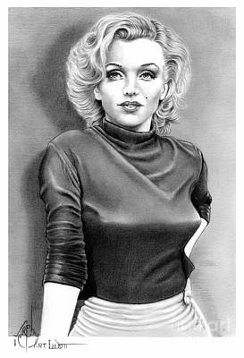 Famous People Drawing - Marilyn Monroe by Murphy Elliott