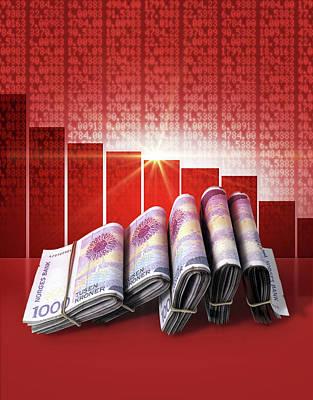 Financial Digital Art - Negative Market Money by Allan Swart