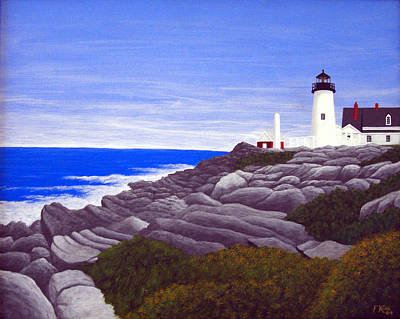 Historic Lighthouse Images Painting - Pemaquid Point Light Station by Frederic Kohli