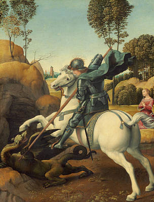 George The Painter Painting - Saint George And The Dragon by Raphael