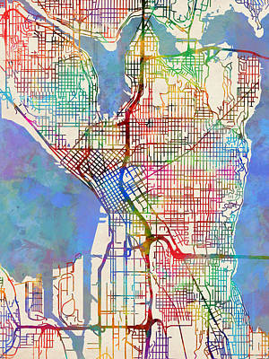 Seattle Digital Art - Seattle Washington Street Map by Michael Tompsett