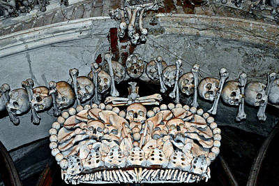 Sedlec Ossuary. Cemetery Church Of All Saints With The Ossuary. Czech Republic. Print by Andy Za