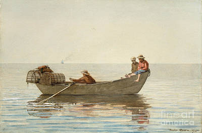 Boy Painting - Three Boys In A Dory With Lobster Pots by Celestial Images