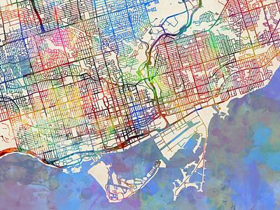 City Map Digital Art - Toronto Street Map by Michael Tompsett