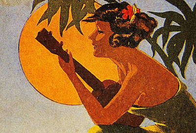 Ukulele Painting - Vintage Hawaiian Art by Hawaiian Legacy Archive - Printscapes