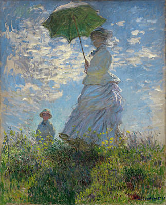 Women Painting - Woman With A Parasol - Madame Monet And Her Son by Claude Monet