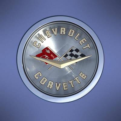 Square Art Photograph - 60 Chevy Corvette Emblem  by Mike McGlothlen