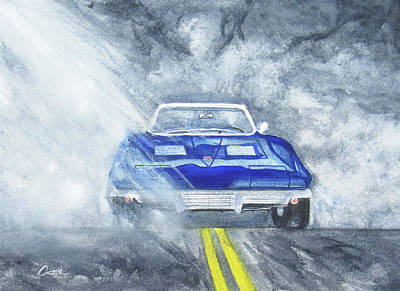 Road Rod Painting - 63 Vette Fog by Brian Ocello