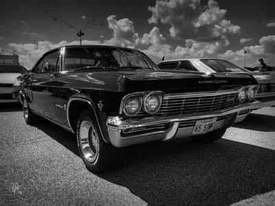 '65 Impala 001 Bw Print by Lance Vaughn