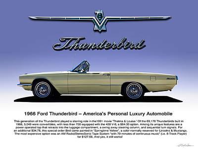 Thunderbirds Digital Art - 66 T-bird Display Piece by Douglas Pittman