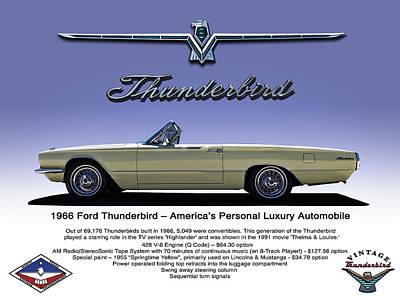 Thunderbirds Digital Art - '66 Thunderbird Convertible by Douglas Pittman