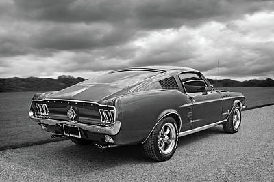 67 Fastback Mustang In Black And White Print by Gill Billington