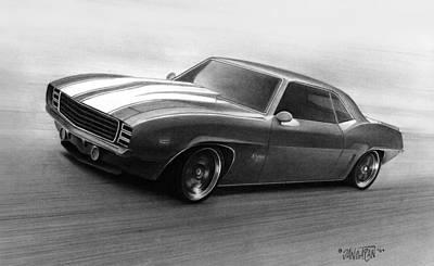 Camaro Drawing - '69 Camaro by Tim Dangaran