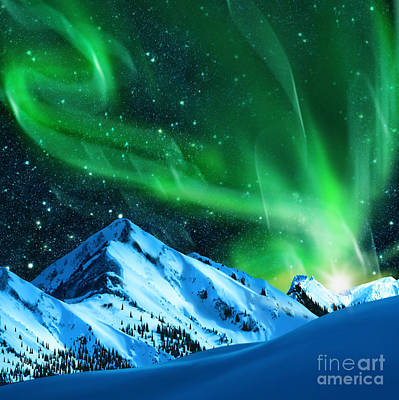 Phenomenon Digital Art - Aurora Borealis by Setsiri Silapasuwanchai